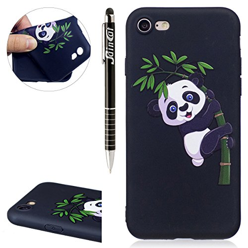Custodia iPhone 7, iPhone 7 Cover Silicone, SainCat Custodia in Morbida TPU Protettiva Cover per iPhone 7, 3D Silicone Case Ultra Slim Sottile Morbida Transparent TPU Gel Cover Case Shock-Absorption A Bamboo Panda