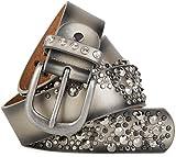 styleBREAKER Vintage Gürtel mit Nieten und Strass im 2-Tone Design, kürzbar, Damen 03010057, Farbe:Gold;Größe:95cm