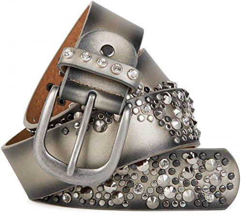 styleBREAKER Vintage Gürtel mit Nieten und Strass im 2-Tone Design, kürzbar, Damen 03010057, Farbe:Gold;Größe:90cm (Jeans-metallic-gürtel -)