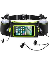 iRainy Trinkgürtel laufen mit 2 Flaschen Touchscreen Laufgürtel passt iPhone 6 Plus, 6S, Samsung S7 LG für Joggen Fahrradfahren Reise Marathon Oder andere Outdoor-Aktivitäten