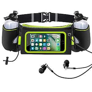iRainy Marsupio Running Cintura Corsa W due 12 oz bottiglie d'acqua Touchscreen Adatta per iPhone 6 Plus, 6S, Samsung S6, S7 per eseguire maratoni jogging o altre attività all'aperto