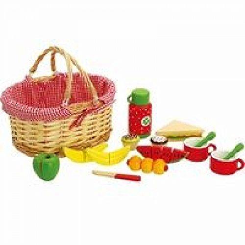 Picknickkoffer RS927   Ideal für das Picknick im Freien   geflochtener Weidenkorb schön mit rot weißem Tuch dekoriert   viel Zubhör   19-teilig mit Banane, Apfel, Tasse und Messer für ein leckeres Vesper  
