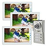 Dreifamilienhaus Video Türsprechanlage 9 Zoll Monitor weiss Bildspeicher, speichert Video und Ton