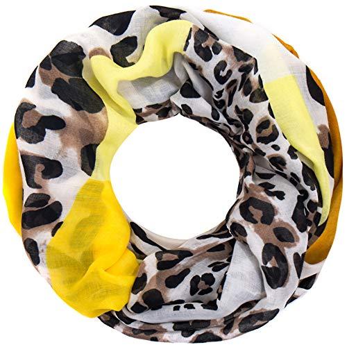 Faera Leoparden-Muster weicher und leichter Damen Sommer-Schal Loopschal Rundschal in verschiedenen Farben, SCHAL Farbe:Gelb