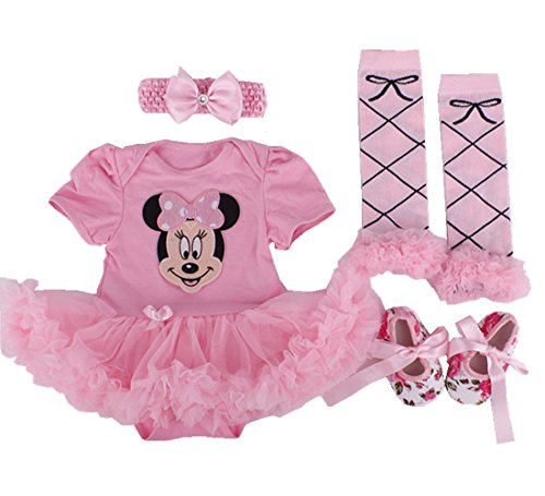 Sallyshiny, Bekleidungsset für Neugeborene, mit Minnie-Maus-Aufdruck, vierteilig mit Tutukleid, Stirnband, Beinwärmer und Schuhen Gr. 6-12 Monate, rose