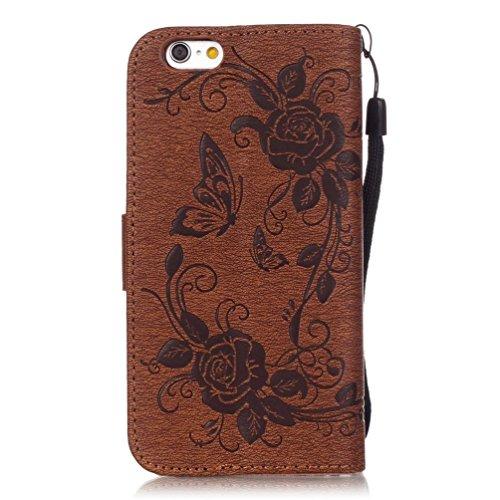 KATUMO® Apple iPhone 6 4.7'' Lederhülle, Ultra Slim Case für iPhone 6S Schutzhülle Flip Case Magnetverschluss Schale Handytasche Wallet Back Cover, Schwarz #01 Braun