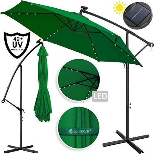 Kesser® Alu Ampelschirm LED Solar ✔ Ø350cm ✔+ Abdeckung ✔ mit Kurbelvorrichtung ✔ UV-Schutz ✔ Aluminium ✔ mit An-/Ausschalter ✔ Wasserabweisend - Sonnenschirm Schirm Gartenschirm Marktschirm Grün