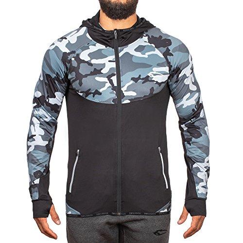 SMILODOX Slim Fit Kapuzenpullover Herren 'Strength' | Camouflage - Zip Hoodie für Sport Gym | Trainingsjacke - Sportpullover - Sweatjacke - Kapuzenpulli, Größe:L, Farbe:Anthracite Camouflage