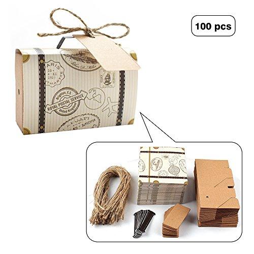 E-Goal 100 Stück/Pack Weinlese-Kraft-Hochzeits-Bevorzugungs-Süßigkeit-Kasten für Hochzeits-Dekoration und Geschenk-Kasten mit Leinwand-Schnur
