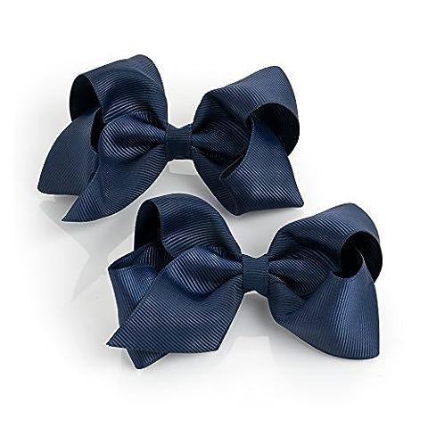 Paire de filles ruban Bleu marine Style Nœud Cheveux Bec Clips diapositives