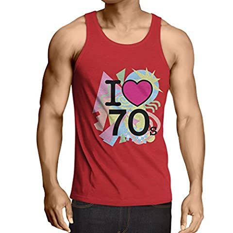 Singlete I love 70's - vintage style clothing (Small Rouge Multicolore)