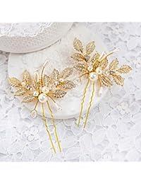 MJW&G Mujer Niña de flor Diamantes Sintéticos Aleación Perla Artificial Celada-Boda Ocasión especial Pasador de Pelo 2 Piezas , gold