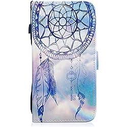 ocketcase Coque Wiko U Feel, Etui Housse en PU Cuir Portefeuille Case Cover Support à Rabat Magnétique Antichoc Coque pour Wiko UFEEL(5.0 Pouces) - Bleu Campanula