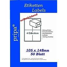 pripa Etikettenformat 105 x 148, 50 Blatt DIN A4 selbstklebende Etiketten. Der Einzelbogen ist aufgeteilt in 4 Etiketten pro Bogen = 200 Etiketten pro Packet.