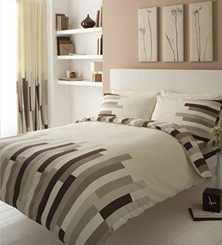New Block Duvet Cover Set With Pillow Cases Bed Set Quilt Cover Set,Single, Double, King, Super King (Double, Block- Cream,Brown)