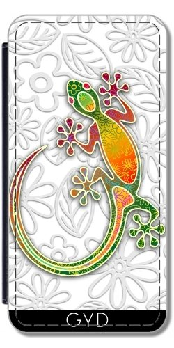 Leder Flip Case Tasche Hülle für Apple iPhone 5/5S - Gecko Floral Stammeskunst by BluedarkArt Similpelle