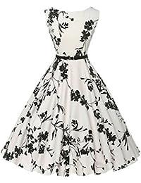 Babyonlinedress Vestido blanco del estampado floral estilo casual y elegante vestido vintage para fiesta de coctel fiesta de noche cuello redondo sin mangas con un cinturón fino