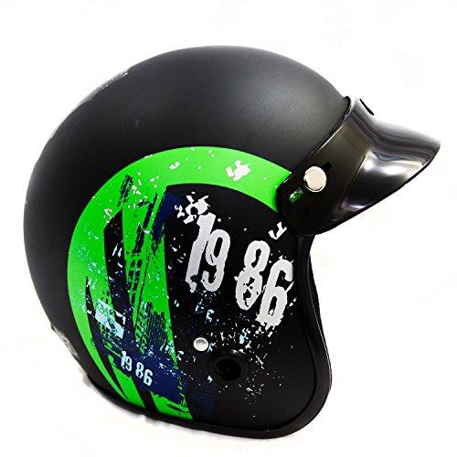 Autofy Power Front Open Helmet (Black and Green, M)