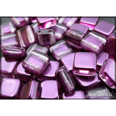 40 pz Tile Beads - Ceco piazza perline di vetro con due fori, rivestimento perla da un lato, Dark Purple