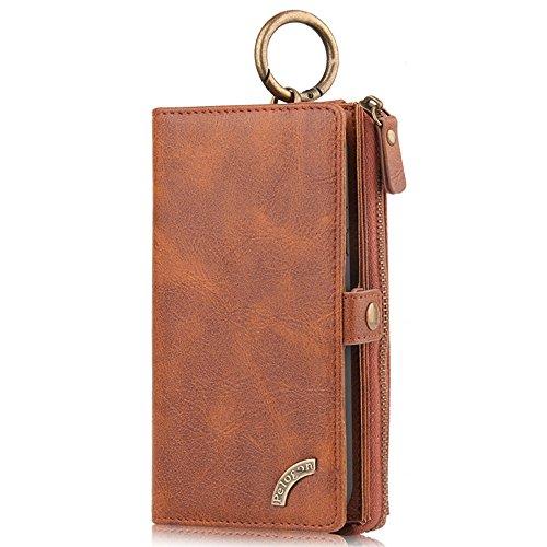 HARRMS Samsung Galaxy S9 (Klein) Case Leder Handyhülle Handytasche mit Kredit Kartenfächer Geldscheinfach mit Reißverschluss abnehmbar Magnet Handy Schutzhülle,Braun