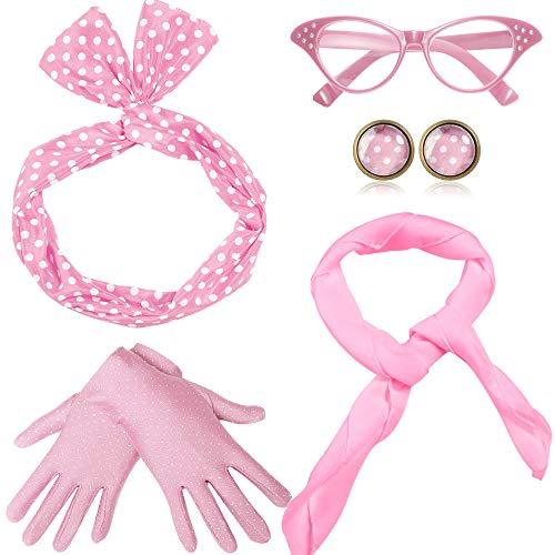 Coucoland 50er Jahre Rockabilly Kostüm Accessoires Damen 1950s Zubehör Set Inklusive Polka Dots Bandana Haarband Ohrringe Handschuhe Katzenaugen Sonnenbrille Chiffon Schal (Pink) -