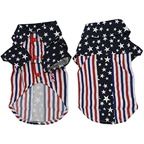 Water & Wood Navy Blue White US Flag Print Collar Pet Dog Puppy T Shirt Costume M