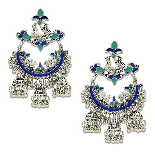 Crunchy Fashion Jewellery Afghani Tribal Oxidised Silver bohemian Stylish Fancy Party Wear Jhumka/Jhumki Earrings for Girls/Women
