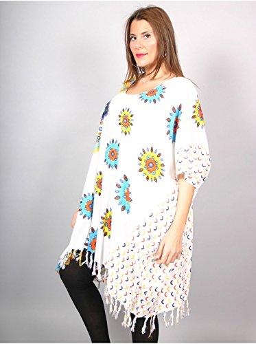 Vêtement Femme Grande Taille Tunique longue florale blanche Blanc