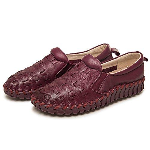 Shenn Donna Scivolare Comfort Respirare Casuale Pelle Sneaker Scarpe Borgogna