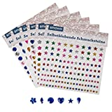 900 Stück Strasssteine selbstklebend - 6 Designs - 4 Größen - Glitzersteine Set zum Aufkleben - Schmucksteine zum Basteln - Glitzer Sticker