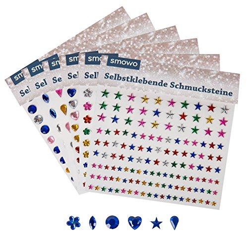 900 Stück Strasssteine selbstklebend - 6 Designs - 4 Größen - Glitzersteine Set zum Aufkleben - Schmucksteine zum Basteln - Scrap Glitzer - Runde Bilderrahmen Kinder,