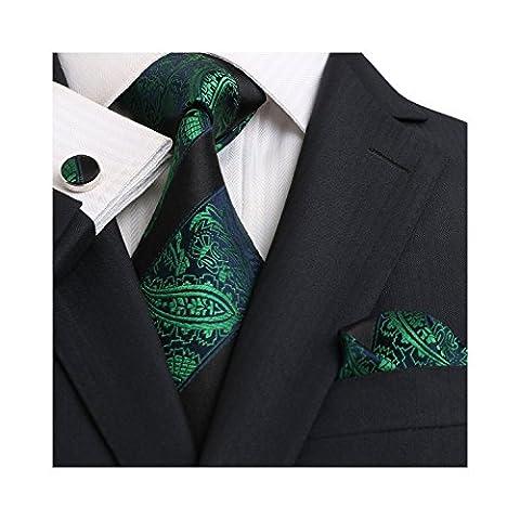 Landisun Paisleys Stripe Mens Silk Tie Set: Tie+Hanky+Cufflinks 18E14 Green Black, 3.25