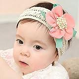 KimBe-Babies' Lace Flower Hair Band Headband Elastic Hair Headwear (Dark Pink)