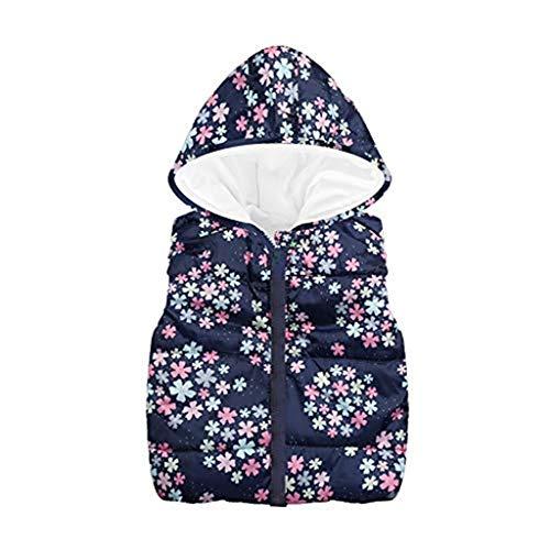 Vovotrade ⚘ giubbotto con zip per bambini e bambine, giacca calda con cappuccio senza maniche fantasia floreale per bambini piccoli