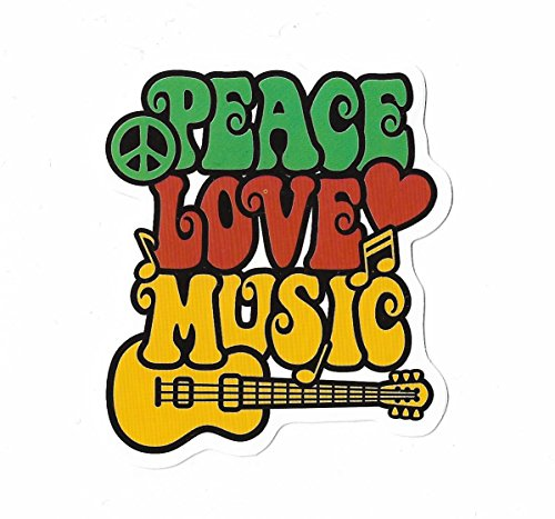 Aufkleber Reggae by greestick Sticker Gansha Bomb einzeln Peace Love Music Pickerl farbig Vinyl Decal