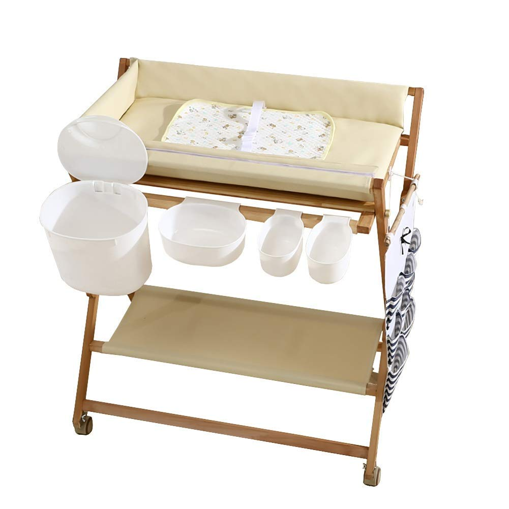 - Baby Changing Table Wood Folding On Wheels With Storage Baskets