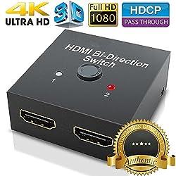 Hdmi Switch & Hdmi Splitter,hdmi Switch 4k –2 Ports Bi-direction Hdmi Splitter 1 Auf 2,hdmi Verteiler Box Manual Switcher Anschlüsse Unterstützt 4k Ultra Hd,1080p,3d