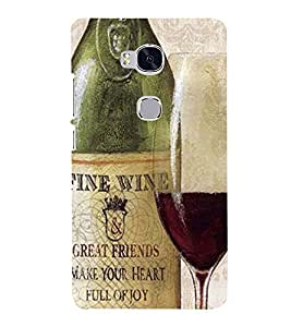 Printvisa Premium Back Cover Vintage Wine Bottle And Glass Design For Huawei Honor 5X:: Huawei Honor X5::Huawei GR5