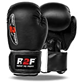 R2F Sports Compacto D Forma Black Cuero Guantes De Boxeo Muay Thai MMA...