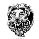 Hoobeads - Perla in argento Sterling 925, a forma di testa di leone, per braccialetti e collane europee