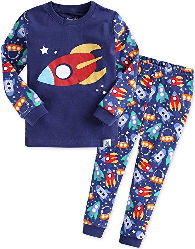 Vaenait Baby Kinder Jungen Nachtwaesche Schlafanzug-Top Bottom 2 Stueck Set Little Rocket XL