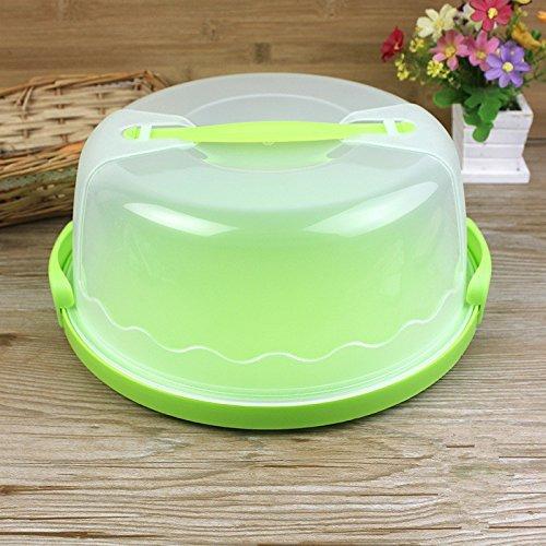 Nopea Tortenschachtel Kuchenbehälter Kunststoff Kuchen Box Kuchenbutler rund mit Deckel und Tragegriff Ideal zum Transportieren Kühlen Transparent Grün