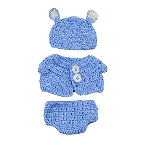 Blau Stricken Hut-set (Homyl Niedliches Puppen Strickens Kleid Hut Weste Puppenbekleidung Set Für 10 - 11 Zoll Neugeborenes Babymädchen Puppe - # A - Blau)
