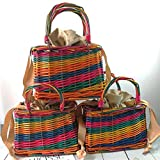 RRFFVV Beach Picnic Colorful Wicker Purse Colorful Straw Dye Rattan Borsa Intrecciata Unisex Basket per Esterno