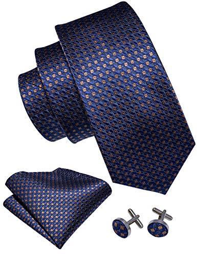 Barry.Wang - Conjunto de corbata para hombre con gemelos cuadrados de bolsillo