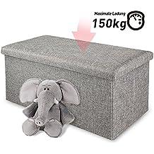 Pouf, Kealive Poggiapiedi Sgabello Contenitore Tessuto pieghevole Risparmio di spazio 76 x 37 x 34 cm, grigio