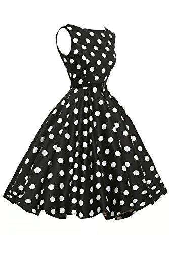 LETS SHOPPING Vestido de oscilación retro del lunar blanco con estilo de los años 50 en Negro ((US 12-14)L, Como se muestra)