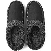 ULTRAIDEAS Men's Cozy Memory Foam Moccasin Suede Slippers with Fuzzy Plush Wool-Like Lining, Slip on Mules Clogs House Shoes with Indoor Outdoor Anti-Skid Rubber Sole Black