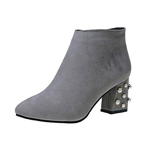 Stiefel Damen Schuhe SUNNSEAN Damenstiefel Mode Frühling Freizeitschuhe Perle Dekoration Platz Heel Ankle Boots Elegant Einzelne Schuhe