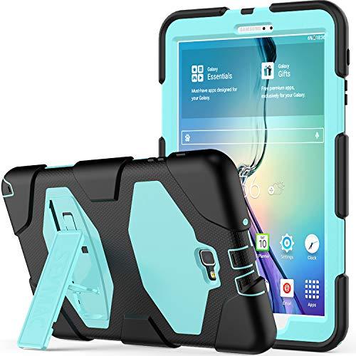 10.1 Hülle - SAYMAC Full Body Robuste-/mit Schutzhülle, Bumper-Hülle mit Ständer für 2016 Samsung Galaxy Tab A6 Tablet-/sm-t580 sm-t585, S Pen-Version Schwarz/Himmelblau ()